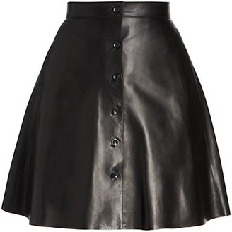Alaia Leather Button-Front Skirt