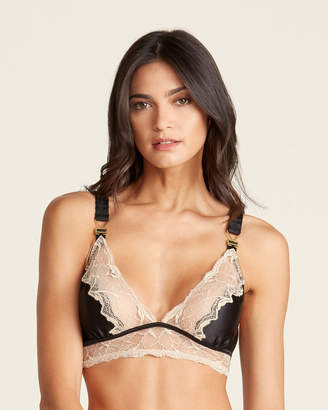 Stella McCartney Plunge Lace Detail Silk-Blend Bra