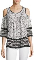 Max Studio Printed Cold-Shoulder Blouse, White Pattern
