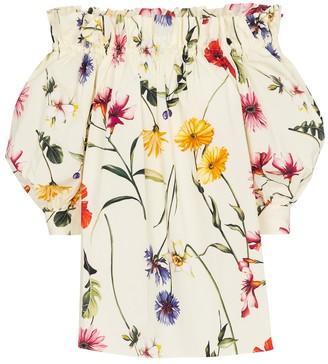 Oscar de la Renta Off-shoulder floral stretch-cotton blouse