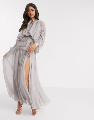 ASOS DESIGN shirred waist maxi dress with satin cuff