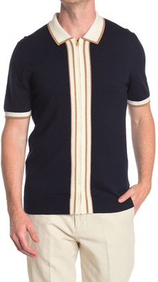 Reiss Roland Navy Striped Zip Through Polo