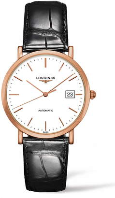 Longines Elegant Automatic Leather Strap Watch, 37mm