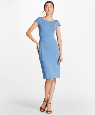 Brooks Brothers Petite Ponte-Knit Cap-Sleeve Sheath Dress