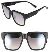 Quay Junior Women's 'On The Prowl' 55Mm Oversize Square Sunglasses - Black/ Silver Mirror