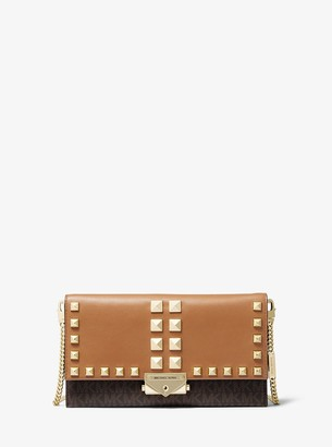 MICHAEL Michael Kors Cece Large Studded Leather and Logo Convertible Crossbody Bag