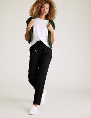 Marks and Spencer Drawstring Tapered Ankle Grazer Trousers
