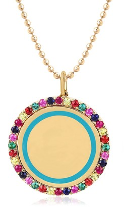 Ef Collection 14K Yellow Gold Pave Rainbow Stones & Turquoise Enamel Round Pendant Necklace