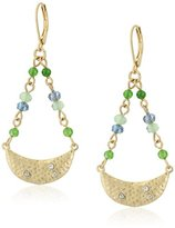 "lonna & lilly Coastal Treasure"" Gold-Tone/Green Multi-Medium Drop Earrings"