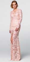 Tarik Ediz Prom Long Sleeve Lace High Slit Evening Dress