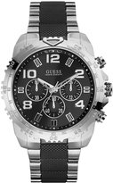 GUESS Black and Silver-Tone Masculine Textured Watch