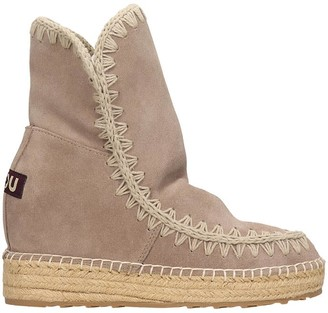 Mou Eskimo Inner Low Heels Ankle Boots In Grey Suede