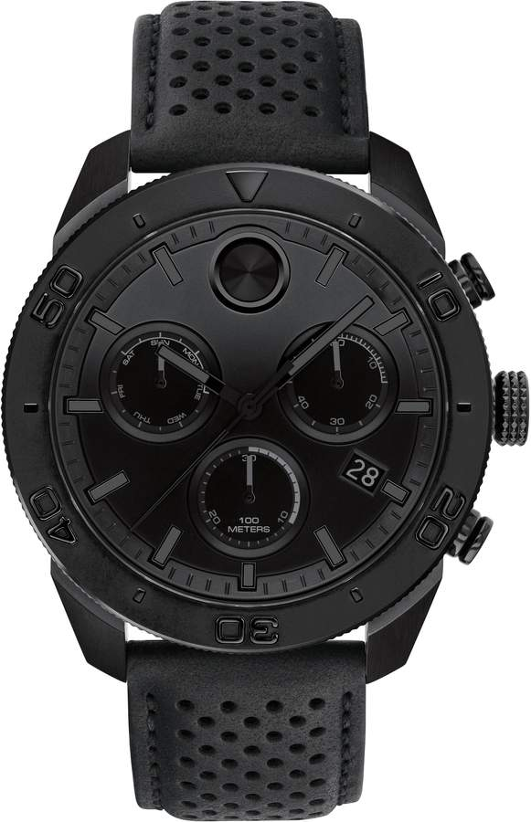 Movado Bold Sport Chronograph Leather Strap Watch, 44mm