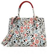 Prada Floral Calf Leather Double-Zip Tote