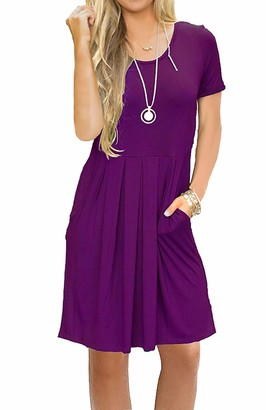 AUSELILY Women's Short Sleeve Pleated Loose Swing Casual Dress with Pockets Knee Length - purple - Small