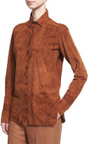 Helmut Lang Long-Sleeve Suede Button-Front Shirt, Dark Orange