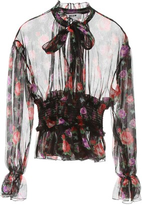 MSGM Floral Print Sheer Blouse