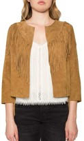 Willow & Clay Women's Crop Fringe Suede Jacket