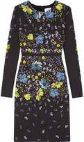 Erdem Evita Printed Matelassé Dress - Navy