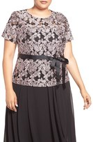 Alex Evenings Plus Size Women's Short Sleeve Embroidered Lace Blouse