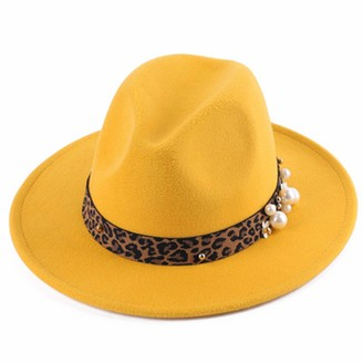 Rouyamiao Women's Wide Brim Felt Fedora Hat with Leopard Belt Buckle Cap Fedora Hat for Ladies (Yellow One Size)