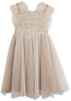 Rare Editions Searington Road by Lace-Detail Glitter-Mesh Dress, Girls (7-16)