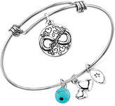 Unwritten Friendship Charm and Manufactured Turquoise (8mm) Adjustable Bangle Bracelet in Stainless Steel