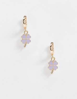 ASOS DESIGN hoop earrings with four leaf clover charm in gold tone