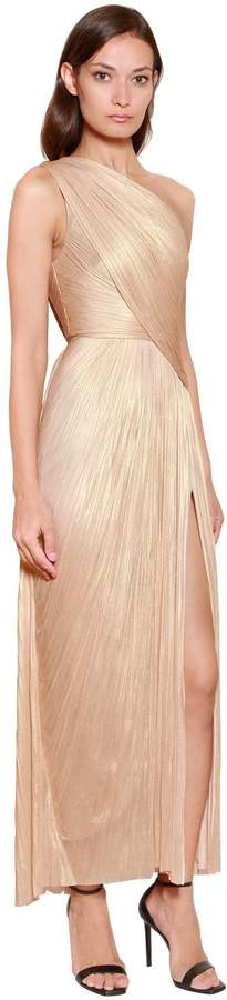 Maria Lucia Hohan One Shoulder Silk Plissé Midi Dress