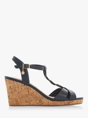 Dune Koala Leather Wedge Heel Sandals