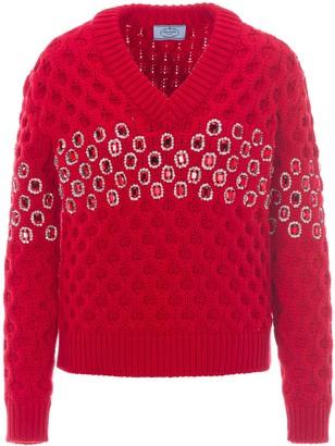 Prada Embellished Knitted Jumper