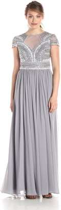 JS Collections Women's Art Deco Short-Sleeved Embellished Notch Neckline Gown with Chiffon Skirt