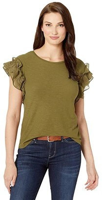 Vince Camuto Short Sleeve Eyelet Trim Mix Media Top (Green Oasis) Women's Clothing
