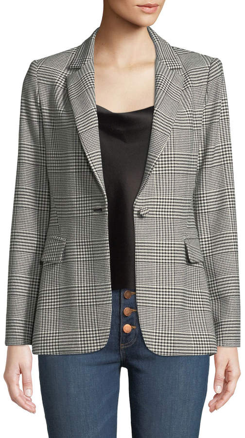 Macey One-Button Fitted Plaid Blazer