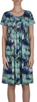 Jump S/Slve Pintuck Fern Print Dress