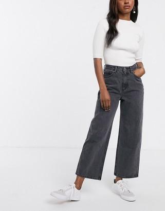 Monki Mozik wide leg organic cotton jeans in gray