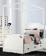 Soft White Hillsdale Tinley Park Canopy Panel Bed with Trundle