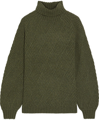 Iris & Ink Briggitte Ribbed Merino Wool-blend Turtleneck Sweater