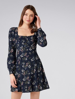 Forever New Diana Square Neck Dress - Navy Floral - 4