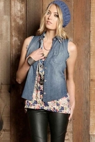 Rails K.C Tank with Collar Tips in Denim