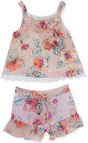 Rare Editions 2-Pc. Floral & Stripe Printed Top & Shorts Set, Baby Girls