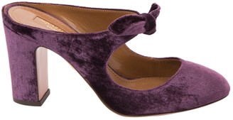 Aquazzura Purple Cloth Mules & Clogs