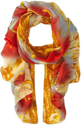 La Fiorentina Women's Abstract Floral Print Scarf with Swirls