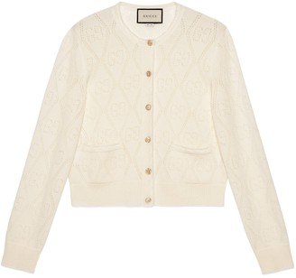 Gucci GG perforated wool crop cardigan