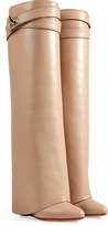 Givenchy Leather Wedge Boots in Camel/Gold