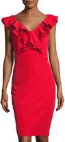 Taylor Ruffle Sleeveless Sheath Dress, Red