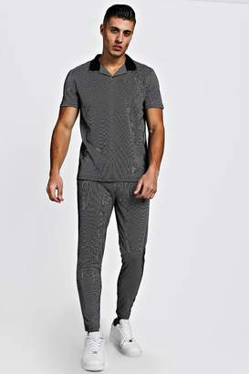 Stripe Revere Collar Polo And Jogger Twinset