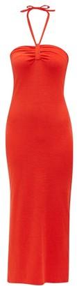 Giuliva Heritage Collection The Leda Halterneck Cotton-blend Midi Dress - Red