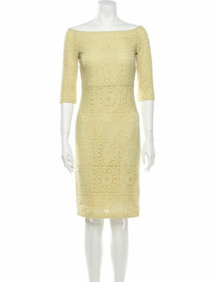 Burberry Lace Pattern Knee-Length Dress Yellow