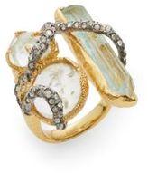 Alexis Bittar Elements Moonlight Crystal Vine Three-Stone Ring